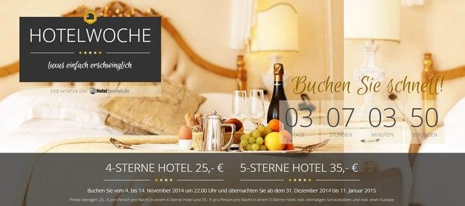 Hotelwoche.de: Luxus-Hotels zu reduzierten Preisen ab 25 € pro Nacht