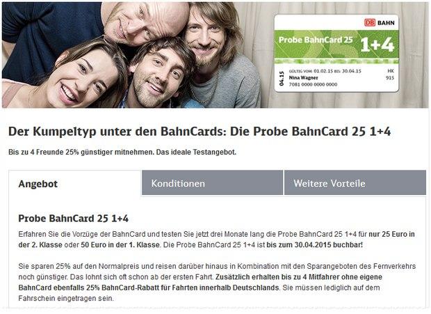 Probe BahnCard 25 1+4