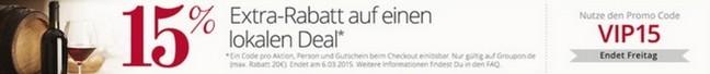 Groupon Gutschein-Rabatt VIP 15 Prozent