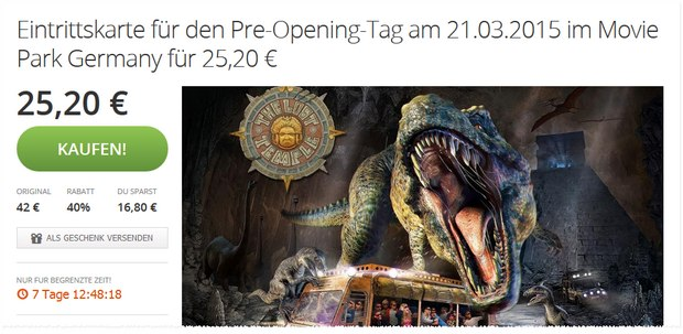 Movie Park Germany Tickets bei Groupon (Pre-Opening am 21.3.2015)