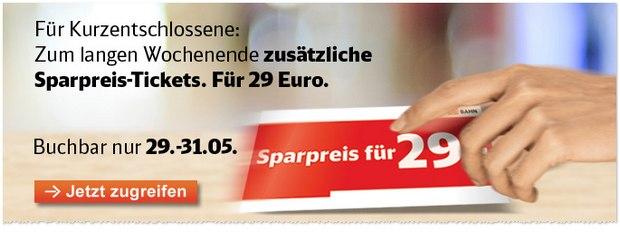 Bahn-Sparpreis-Tickets vom 29.5. - 31.5.2015 buchen