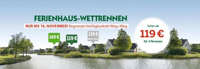 Center Parcs Ferienhaus-Wettrennen bis 19.11.2015