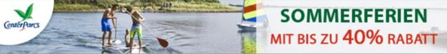 Center Parcs Sonderangebote: Sommerferien-Aktion mit bis zu 40% Rabatt