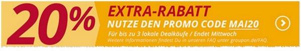 Groupon Rabatt-Gutschein auf lokale Deal: 20% sparen