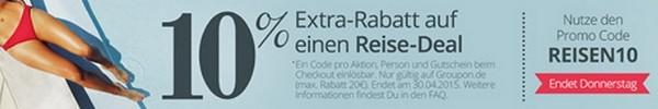 Groupon Reise-Gutschein mit 10 Prozent Rabatt