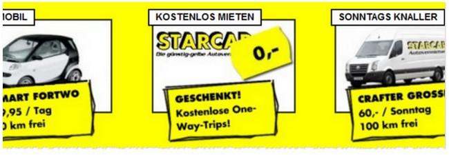 Mietwagen kostenlos: One-Way-Fahrten bei Starcar gratis