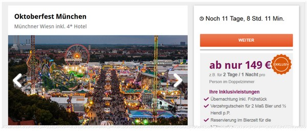 Oktoberfest München Frühbucher-Rabatt