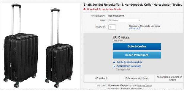 Shaik Koffer (360 Grad): Günstige 4-Rollen-Trolleys für 49,99 €