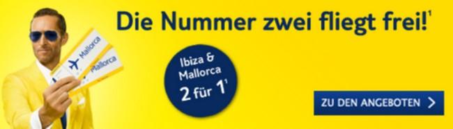 TUIfly 2-für-1-Tickets: Ibiza & Mallorca günstiger bereisen
