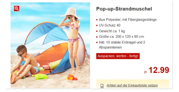 pop up strandmuschel kaufland