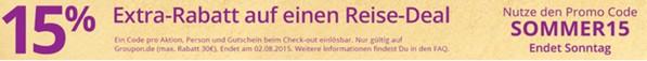 Groupon Gutschein zum Sommer mit 15 Prozent Rabatt