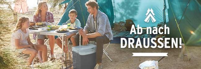 Tchibo Zelte auf der Werbung: Wurfzelt für 39,95 €, Familienzelt für 179 €, online günstiger kaufen