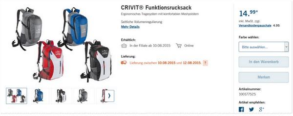 Crivit Rucksack Angebot