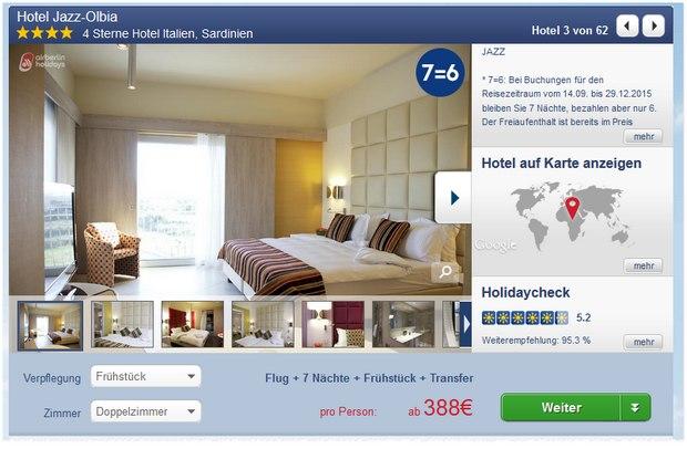 7 Tage Sardinien ins Jazz-Hotel Olbia gibt's bei Airberlinholidays aktuell ab 388 € pro Person im November