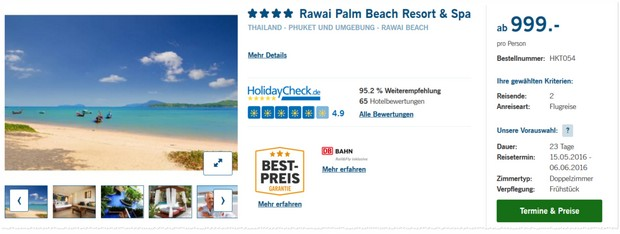 Thailand Urlaub auf Phuket im 4* Hotel Rawai Palm Beach Resort