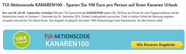 100 € TUI-Gutschein für die Kanarischen Inseln