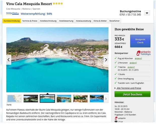 Mallorca Viva Cala Mesquida Resort über HLX für 333 € pro Person