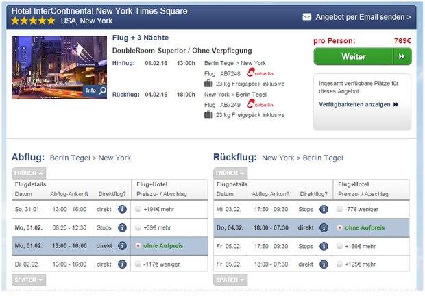 New York: 3 Nächte im Interncontinental Hotel am Times Square