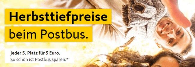 Postbus Herbsttiefpreise: Jeder 5. Platz für 5 € als günstiges Fernbus-Ticket (Zufallsprinzip)