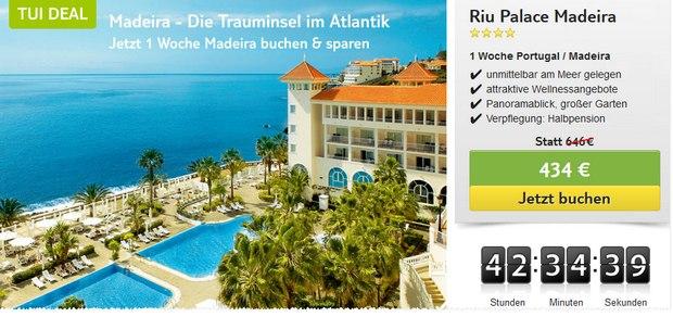 RIU Palace auf Madeira als TUI-Deal für ca. 500 € pro Person