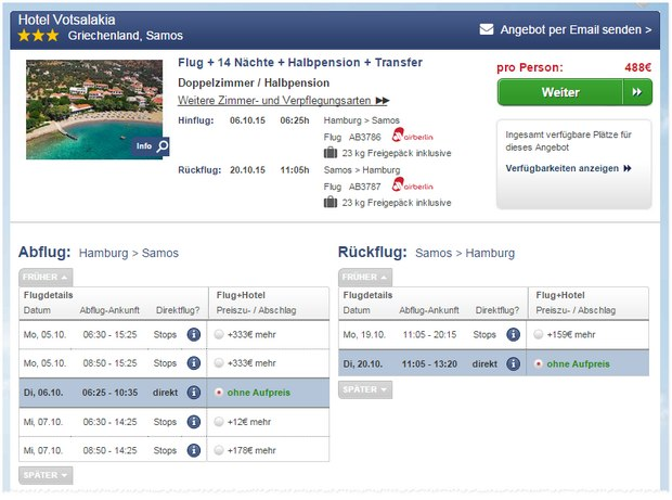 14 Tage Samos-Last-Minute-Urlaub (Halbpension) im guten 3*Hotel Votsalakia ab 488 € pro Person