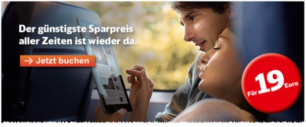 Bahn Sparpreis Tickets 19 Euro-Aktion