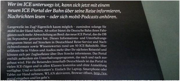 Vorstellung des ICE Portals in der aktuellen DB Mobil Kundenmagazin-Ausgabe