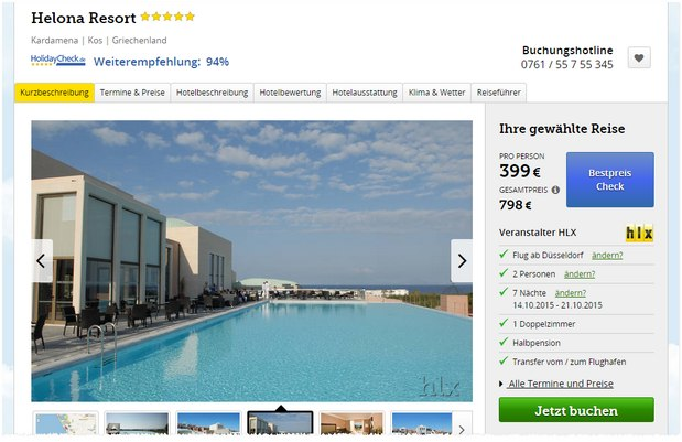 Kos-Knaller: 7 Nächte Halbpension im 5* Luxus Helona Resort im Oktober Last Minute ab 399 € p.P. über HLX