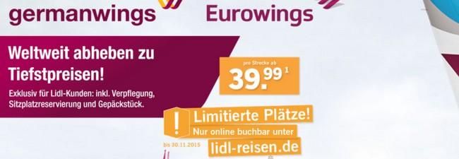 LIDL Flugtickets von Eurowings/Germanwings ab 39,99 € pro Strecke