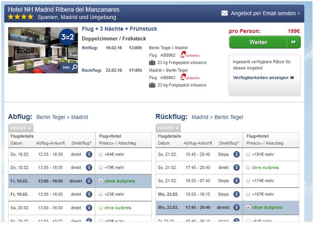 Madrid-Reise für 3 Nächte ins NH-Hotel Ribera del Mazanares mit Airberlinholidays.com