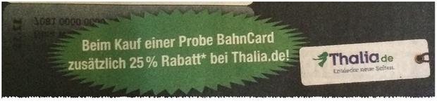 Probe BahnCard mit Thalia Gutscheinen laut Gratis BILD-Zeitung