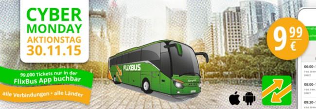 Flixbus Cyber Monday Aktion: Alle Verbindungen für 9,99 € – nur bei App-Buchung