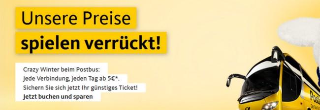 Postbus Crazy Winter 2016: Jede Verbindung ab 5 € – 10.000 zusätzliche Tickets freigeschaltet