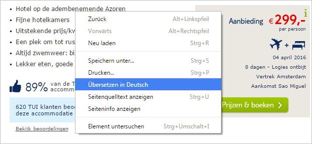 TUI.nl ins Deutsche übersetzen