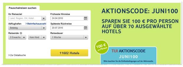 TUI Aktionscode im Juni 2016